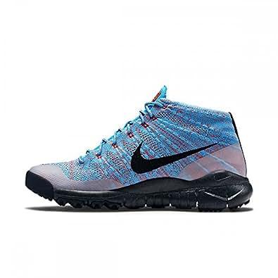 nike flyknit trainer chukka FSB mrens hi top trainers 625009 sneakers shoes (us 11.5 , blue lagoon black bright crimson 400)