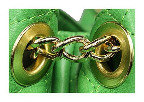 Schöne praktische Leder Grüne Handtasche aus Leder Emma Verde über die Schulter rONdd