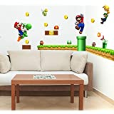 Large super mario wall decal for kid's room Nintendo super mario bros game wall sticker removable PEEL&STICK