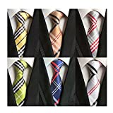 WeiShang Lot 6 PCS Classic Men's 100% Silk Tie Necktie Woven JACQUARD Neck Ties (Style 7)