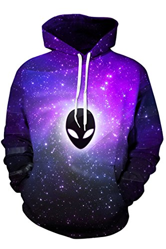 Cutiefox Womens 3D Alien Print Long Sleeve Pullover Hoodie Sweatshirt Purple 2XL