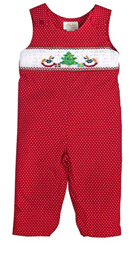 Rosalina Little Girl's Red with White Dotted Christmas Rocking Horse Smocked Knicker -