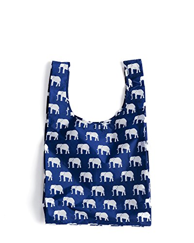 Hand Carry Shopper Tote Bag - BAGGU Standard Reusable Shopping Bag, Eco-friendly Ripstop Nylon Foldable Grocery Tote, Elephant Blue (2017)