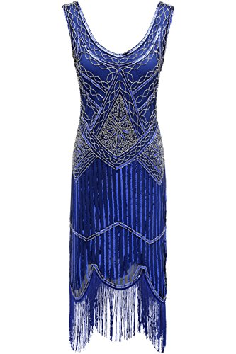 BABEYOND 1920s Flapper Dress Roaring 20s Great Gatsby Costume Dress Fringed Sequin Dress Embellished Art Deco Dress Blue -