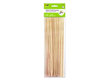 Multicraft Imports Krafty Kids Cw554 Craftwood Natural Thin Dowel 10in By 25mm 85 Piece