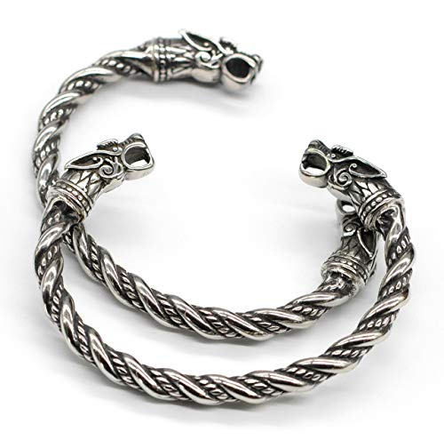 VikingsBrand Viking Norse Wolf Head Fenrir Arm Ring Bangle Bracelet