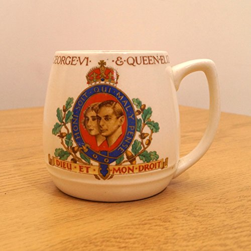J G Meakin England (Mug / Cup to commemorate coronation of King George VI and Queen Elizabeth May 1937 || J&G Meakin England Reg. SOL 391413)