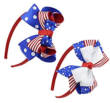 Amazon.com   Lesirit 4th of July Headband American Flag Headband Patriotic  Headband Independence Day Bowknot Hairbands Girls Hair Accessories (2 pcs 5a876adb5d3c