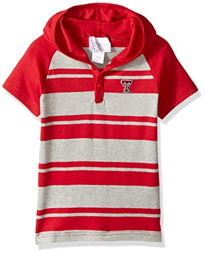 Two Feet Ahead NCAA Texas Tech Red Raiders Toddler Boys Rugby Short Sleeve Hooded Shirt, Size 4, Red/Heather