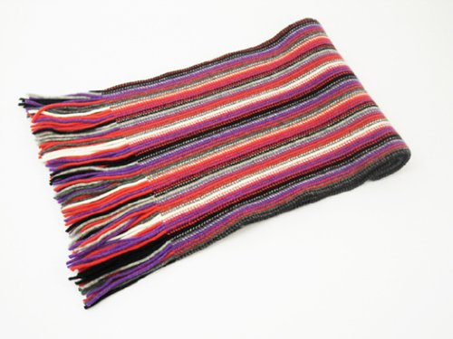Oxfords Cashmere 2 ply Pure Cashmere Ladies Stripe Scarf, Cerise-One Size by Oxfords Cashmere