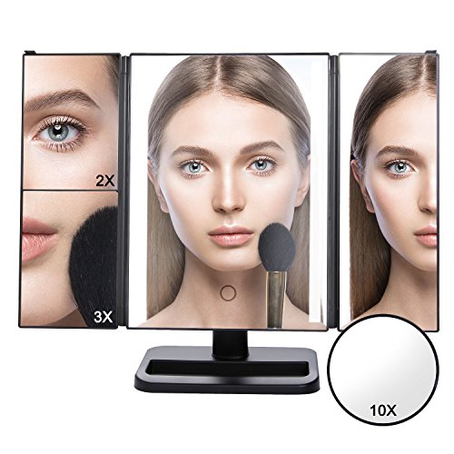Lifewit Vanity Makeup Mirror Trifold 24 Led Lighted with Touch Screen, 10X 3X 2X 1X Magnification and USB Charging, 180° Adjustable Stand for Countertop Cosmetic Makeup (Black) by Lifewit