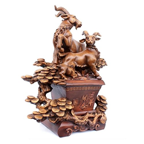 GL&G High-end Wood carving sheep Decorations Home Crafts fashion living room office Lucky sheep Tabletop Scenes Ornaments Sculptures High-end Business gift,A,462360cm by GAOLIGUO