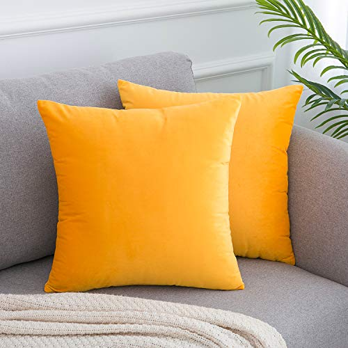 WLNUI Set of 2 Soft Velvet Solid Gold Yellow Decorative Square Throw Pillow Covers Set Cushion Case for Sofa Couch Home Decor 18x18 Inches 45x45 cm (Pillows Yellow Gold)