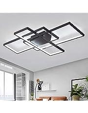 Lampa sufitowa LED, do salonu, ściemniana, z pilotem zdalnego sterowania, 3000 K – 6000 K, nowy projekt, nieregularna prostokątna lampa sufitowa akrylowa, do kuchni, sypialni, energooszczędna, dekoracyjna, czarna, 90 x 50 cm/80 W