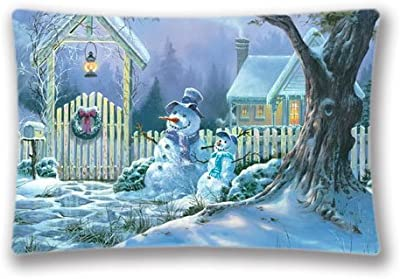 Christmas Scenes Background Pillow Cases Covers King Size Comfortable Rectangle PillowCases 20x30inch Pillow Protector(Twin Sides)