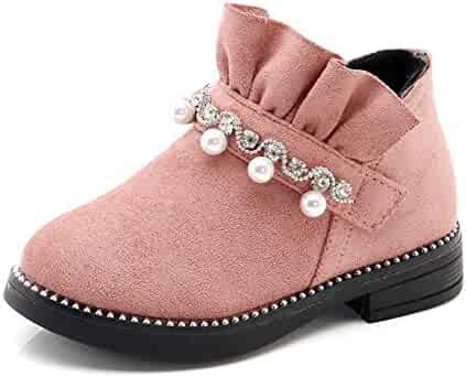Toddler/Little Kid Exercise & Fitness CYBLING Autumn Winter Unisex Granny Rivet Ankle Boots Fur Lined Shoes