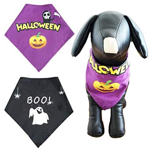 PET SHOW 2pcs Pack Halloween Cat Small Dog Puppies Bandanas Cotton Washable Adjustable Triangle Bib Scarf Medium Dogs ()