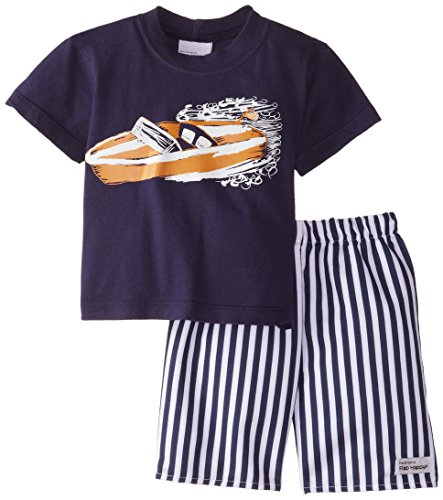 Flap Happy Baby Boys' Short Sleeve Classic Screen Tee and Skate Shorts Set, Classic Cruisin', 24 Months (Flap Clothing Childrens Happy)