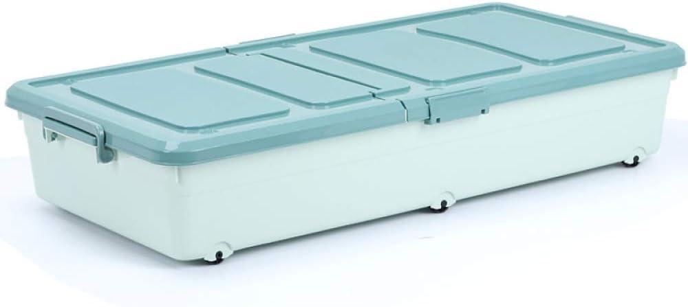 QXTT Caja De Almacenamiento Multiusos Bajo Cama con Tapa Y Ruedas Plástico para Ropa De Cama Libro Merienda 94 * 18 * 46cm,Blue: Amazon.es: Hogar