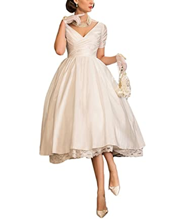 58f1bab968 VikDressy Vintage A-Line Princess Tea-Length Lace Wedding Dresses V-Neck  Short Sleeves Taffeta Bridal Gowns at Amazon Women s Clothing store