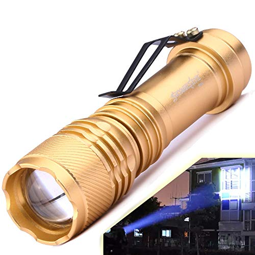 Super Bright 6000LM CREE Q5 3 Modes Zoomable LED Flashlight Torch Adjustable Focus Zoom Light For Camping Hiking Outdoor with 1 x AA/14500 Batteries(Not Included) (Gold)