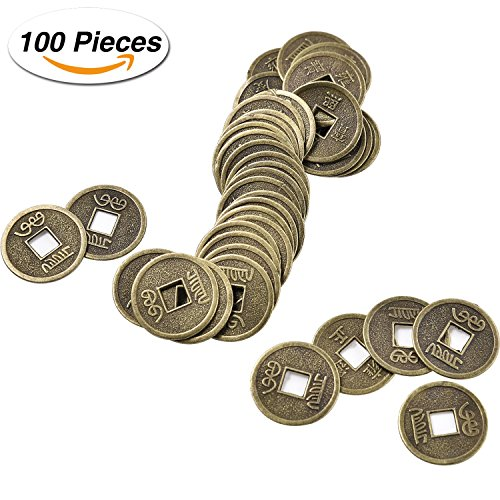 Pangda 100 Pieces Chinese Feng Shui Coins I-ching Coins Fortune Coins with Storage Bag for Luck Health and Wealth