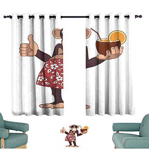 (Mannwarehouse Cartoon Soft Curtain Happy Chimpanzee Holding a Cocktail and Smiling Piggle Ape Cheerful Comic Art Set of Two Panels 55