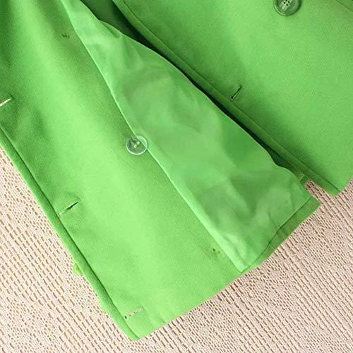 Mujer Manga Slim Larga Verde Solapa Hipster Unicolor Otoño Primavera Outerwear Hipster Abrigos Parka Fit De Elegantes Chaqueta Chaqueta Moda Botonadura Doble Joven rqwPrfB