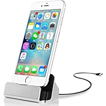 IOS Charger Charging Docking Desktop Stand Station Cradle Sync Dock for iPhone 7 7s 6 6S Plus 5S 5 SE 5C 5se (Silver)