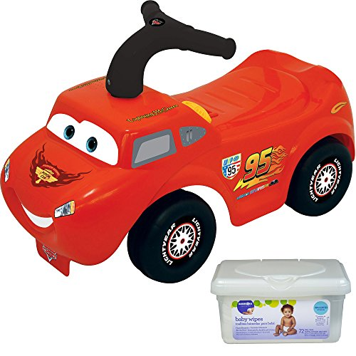 Kiddieland Disney Lightning Mcqueen Kids Ride On Push Car Toys for Toddler Boys with Baby Wipes (Winnie The Pooh Vest Disney Costume)