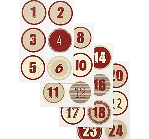 Red & Cream Christmas Advent Calendar Number Paper Stickers - 1 to 24