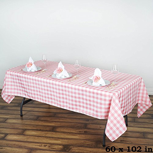 BalsaCircle 60-Inch x 102-Inch Rose Quartz Pink Gingham Checkered Polyester Tablecloth Table Linens Wedding Party Events Decorations ()