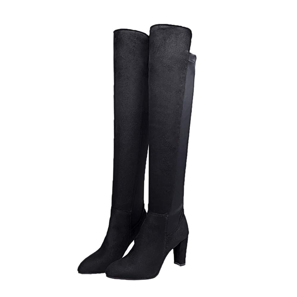 d2ad35929b0 Byste Women Stretch Faux Slim High Boots Over The Knee Boots High Heels  Shoes Ladies Elasticated Slip On Solid Suede Leather Pointed Toe Thigh High  ...
