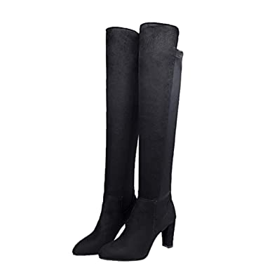 69d18e938c5 Byste Women Stretch Faux Slim High Boots Over The Knee Boots High Heels  Shoes Ladies Elasticated Slip On Solid Suede Leather Pointed Toe Thigh High  ...