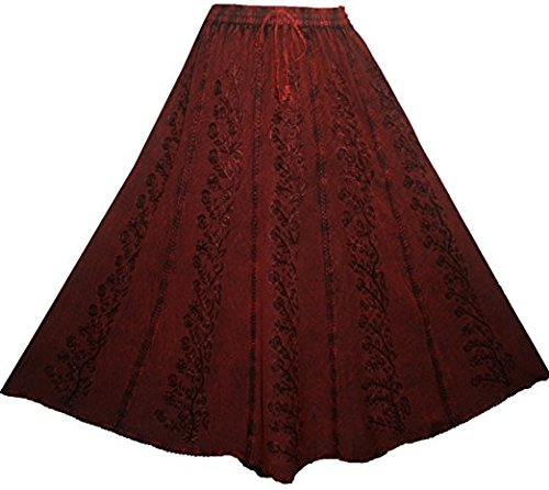 Agan Traders 712 SK Medieval Embroidered Long Skirt (L/XL, Burgundy) (Skirt Full Embroidered)