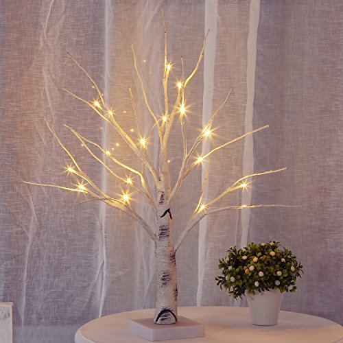 Bolylight Lighted Birch Tree Centerpiece Jewelry Tree Night Light Table Lamp 17.71 inch 18L Home Decor for Valentine