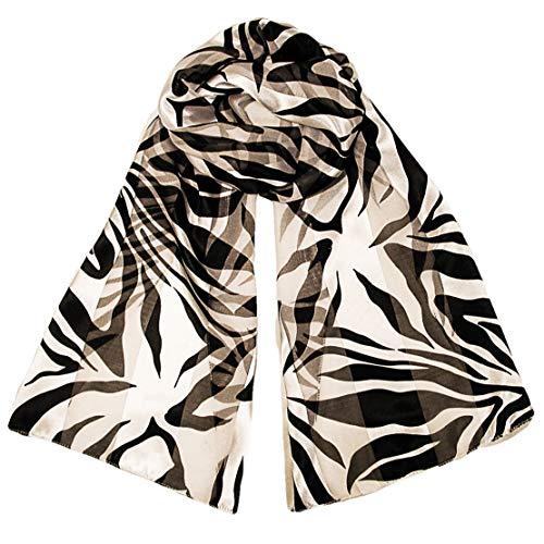 Long Silky Chiffon Satin Neck Scarf Black White Zebra Animal Print