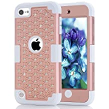 iPod touch 5 Case,iPod touch 6 Case,Liujie Diamond design Durable Hybrid 3in1 PC+Silicone Design Bumper Slim Hard Back Case Cover Compatible with Apple iPod Touch 5/6 (champangne+white)