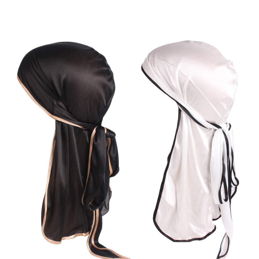 AidShunN Uomo Donna Silky Durag Elastico Turbante a Coda Lunga Cappello Chemo Cap Beanie Musulmano Bandana Pirata Unisex