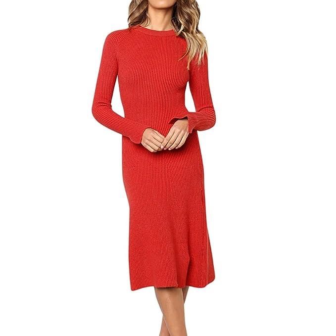 Kleider Damen Elegant Pullover Kleid T-Shirt MiniKleid Langarmkleid  Strandkleid Lose Einfache Einfarbig Rollkragen Dünnes Kleid Beiläufige Lange  Poncho ... c9da3b1c39