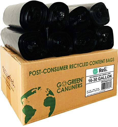 Reli. Recyclable Eco-Friendly Trash Bags, 16-30 Gallon (200 Count) - Made From Recycled Content (SCS Certified) - Go Green Canliners - Environment-Friendly Garbage Bags (16 Gallon - 30 Gallon) (Black)