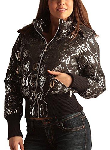 Ed Hardy Womens Logo Puffer Jacket -Black/Silver - X-Large