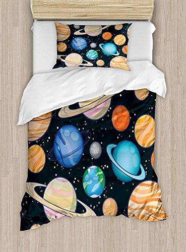 Twin Bedding Set,Galaxy Duvet Cover Set,Cute Galaxy Space Art Solar System Planets Mars Mercury Uranus Jupiter Venus Kids Print,Include 1 Flat Sheet 1 Duvet Cover and 2 Pillow Cases by Fantasy Star