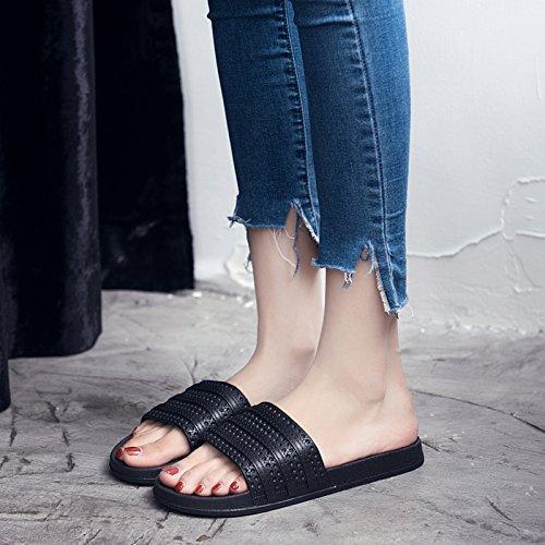 FankouZapatillas mujer verano cubierta blanda antideslizante zapatillas de baño baños casa piso gruesos macho quedarme un par de zapatillas cool home ,35-36, negro Q
