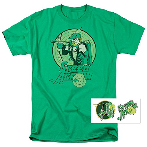 Popfunk Green Arrow Robin Hood DC Comics T Shirt & Exclusive Stickers (Large)