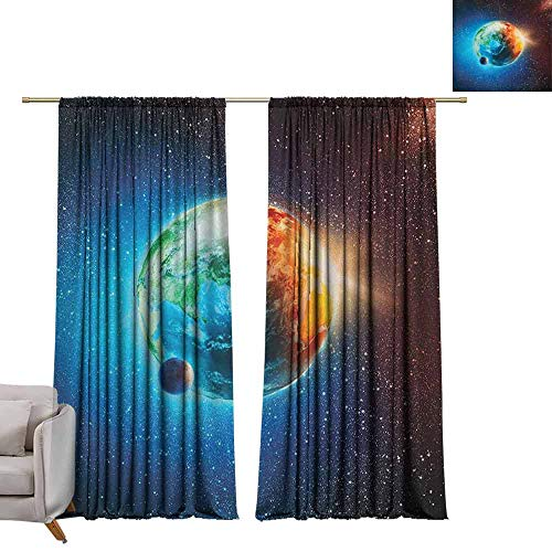 berrly Drapes for Dining Room Outer Space,Planet Earth in Sun Rays Elements Astronomy Atmosphere Sky Satellite Moon Image, Red Blue W96 x L108 Art Room Curtains