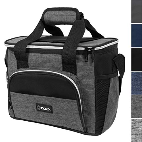 OPUX Thermal Insulated Large Lunch Bag for Travel | Soft Collapsible Mini Cooler Bag for Family Picnic, Beach, Camping | Leakproof Lunch Box for Work, Office | Fits 16 Cans (Charcoal)