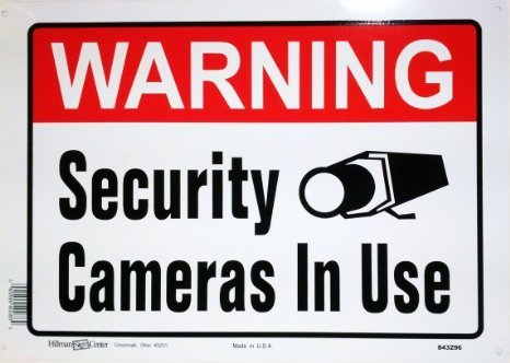 (Hillman 843296 Warning Security Cameras In Use Sign, White, Red and Black Aluminum Metal, 10x14 Inches 1-Sign)