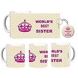 PrettyurParty World's Best Sister Mug | Rakhi Gift For Sister, Combo - 1 Mug,1 keychain