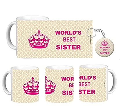 Buy Prettyurparty World S Best Sister Mug Rakhi Gift For Sister Combo 1 Mug 1 Keychain Online At Low Prices In India Amazon In